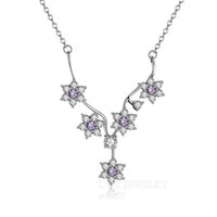 Wholesale New Arrival Real Sterling Silver Pendant Necklaces cm For Women Jewelry Friend Gift with Superior Quality Purple White Crystal Z