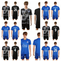 Wholesale 16 Leicester City Jersey VARDY Home Blue MAHREZ DRINKWATER OKAZAKI KING Away Black Leicester City Soccer Jersey Set