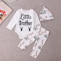 baby deer sale - hot sale baby girl suits Newborn kids Boys girls Little brother Deer Tops Romper Babygrows Long sleeve jumpsuit Pants Hat cotton Outfits Set