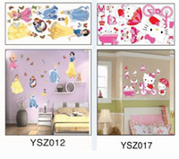 Wholesale New Hello Kitty Removable Plane Wall sticker Snow White Decor Sticker For Bedroom TV Background Wall Sticker Kids Toys DIY Plastic Sticker