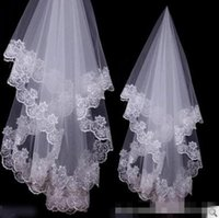 flower appliques - In Stock Charming Cheap Girls Wedding Bridal Accessories Veil For Wedding Lace White Ivory Color Hot Sale Charming Top