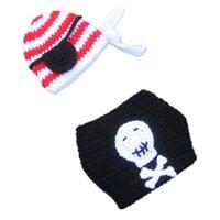 Unisex Winter Acrylic Super Cool Baby Pirate Costume,Handmade Knit Crochet Baby Boy Girl Pirate Beanie Hat Diaper Cover Set,Newborn Infant Halloween Photo Prop