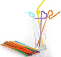 Wholesale 25CM Plastic Disposable Beverage Straw Non Toxic Party Art Straw Multicolor Juice Drinking Straw