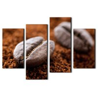 bean pictures - Amosi Art Pieces Wall Art Brown Coffee Bean Wall Art Painting The Picture Print On Canvas Food Pictures For Home Decor Wooden Framed