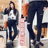 Wholesale Korean Style Fashion Casual Black High Waist Torn Jeans Hole Knee Skinny Pencil Pants Slim Denim Ripped Jeans For Womens