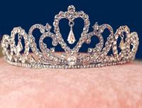 Cheap New Wedding Bridal Crystal Tiaras Crowns Princess Queen Pageant Prom Rhinestone Veil Tiara Headband Wedding Hair Accessories