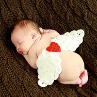 angels knit hat - New Lovely Angel Wings Crochet Baby Photography Props Infant Baby Knitted Costume Newborn Photo Outfit set