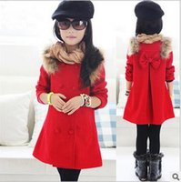 Wholesale The new girls woolen jacket and long sections coat baby bow fashion mink collar woolen coat a generation of fat