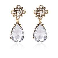 adorn gems - New Alloy Gem Crystal Female Stud Earrings Gem Earrings Chandelier Earring Small Adorn Article Contracted Fashion Shape Earrings