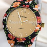 band drawings - NEW Geneva flower print watch Platinum Watch Plastic Band Analog Women wristwatch Vine Fashion Cheap vine fashion drawings