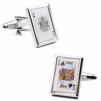ace shirts - Cool Personalize Pattern Poker Playing Cards Queen K and Ace Fashion Man Shirt Accessories Wedding Party Cuff Links
