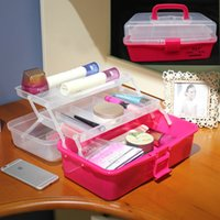 Wholesale inch Pink color toolbox PP tool box Medical Art Painting Storage box portable fittings box household storage