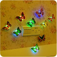 Wholesale 1PCS Lovely Creative Color Changing ABS Butterfly LED Night Lights Lamp Beautiful Home Decorative Wall Nightlights Random
