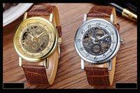 al por mayor rosa anillo de oro barato-Relojes baratos a prueba de agua Silver Rose Gold Leather relojes de diseño de moda Reloj de lujo de cuarzo de moda de moda de acero inoxidable para hombres