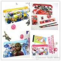 Wholesale Frozen Kids learning items elsa anna sofia kitty car stationery set for children Pencil cases Bags Ruler Pencils good quality