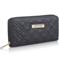Wholesale KARDASHIAN KOLLECTION Girl s Famous KK Brand Designer Thread Wallet Women Plaid PU Leather Purse Ladies Clutch Clip Portafoglio Donna KK0160