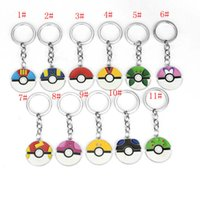 Wholesale Poke pokémon go Metal Keychain toys Style Children Zinic Alloy Poke Ball Pikachu Charmander Bulbasaur keyring key finder ZJ