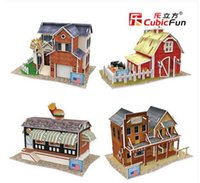 architecture model making - DIY Cubic Fun D Paper Puzzle United States Style Construction architecture model making Villa Bar Farm Fast Food Shop