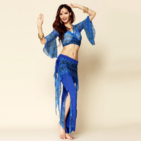 belly dance costume parts - 2016 Hot Belly Dance Costume Set piece Top Parts Waist Towel Bollywood Dance Costumes Clothes For Dancing