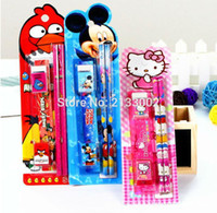 Wholesale In Cartoon Kawaii Pencil Ruler Earser Sharpener Stationery Set For Boy Girls Kids Gift School