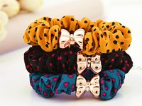 asian fabric prints - Hair Rubber Bands Fashion Cute Monochrome Printing Hair Jewelry Factory Love Korean Ribbon Ring Gifts