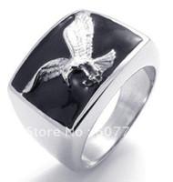 bald eagle gifts - USA Popular L Stainless Steel Black Enamel Casting Bald Eagle Hawk Rings SZ