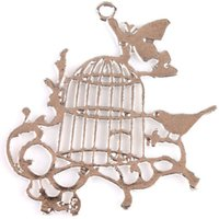 Wholesale New Charms Zinc Alloy Bird Pattern Birdcage Silver Tone Metal Pendant Fit Handcraft DIY mm