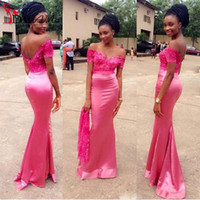 antique prom dresses - 2016 antique Nigerian African Long Prom Dresses Mermaid Off Shoulder Appliques Satin Party Guest Dresses Prom Gowns Chinese
