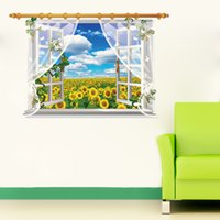 Cheap Free Shipping High Quality Fashion 3d Sunflower Pvc Living Room Background Waterproof Wall Decor Home