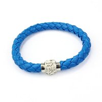 Wholesale High Quality PC Wristband Magnetic Rhinestone Buckle Leather Wrap Bracelets Bangles June