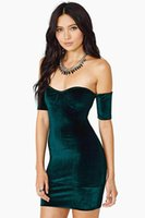 Wholesale 2016 New Vestidos De Festa Strapless Velvet Bodycon Mini Dress Off the Shoulder Party Dress Sexy Celeb Evening Party Dress