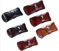 Wholesale soft touch Genuine Cowhide Leather Sunglasses Case Eyeglass Designer Case clam shell box with magnetic close