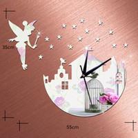 angels wall stickers - 3D Wall Clock Wall Mirror Sticker Clock Watch Mirror Stickers Home Castle Angel Wall Decor Decals Wall Clock Modern Design