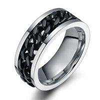 men titanium bracelet - Retail pc Arrival Titanium steel rotating black chain ring Personality man ring ring bracelet