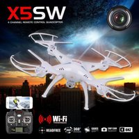 Wholesale 2016 Original Drones SYMA X5SW WIFI RC Drone FPV Helicopter Quadcopter with HD Camera G Axis Real Time RC Helicopter Toy headfree