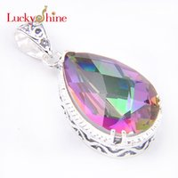 australia necklace - Promotion Jewelry Vintage Drop Fire Color Mystic Topaz Silver Plated Wedding Pendant Russia USA Australia Pendants