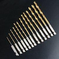 Wholesale 13PCS HSS High Speed Steel Titanium Coated Drill Bit Set quot mm Hex Shank