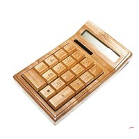 Wholesale Bamboo Solar Calculator Power Wooden Mini Calculadora Cientifica Digits Automatically Powers Off Natural Handcraft Unique