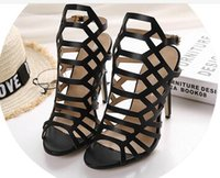 Wholesale Brand new fashion hollow high heel sandals stiletto heel women shoes party shoes