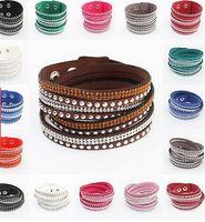 achat en gros de envelopper bracelet strass-17 couleurs gros-gros strass Bling Double bracelet en cuir Fashion Slake Deluxe Multi Color Wrap Cristal Bracelets pour les femmes