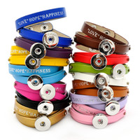 beauty happiness - New Fashion SG0246 Beauty Charming quot Love Hope Happiness quot layers Leather ginger snap bracelets fit MM ginger snap buttons
