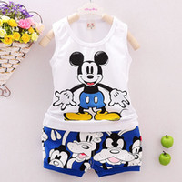baby boy tracksuits - Summer Mickey Sets For Baby Boys Clothes Minnie Mouse Toddler Kids Sleeveless Cartoon Print Vest Tops Print Shorts Pants Tracksuit