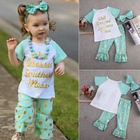 baby wells - Baby girls summer autumn boutique outfits Children girls gilding dot letter print clothing well dressed short sleeve shirt pants pc set