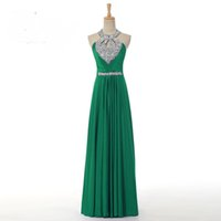 Wholesale 2016 Vestido A Line Elegant Prom Long Evening Dresses Sexy Backless Sequins and Crystals Special Occasion Dresses Evening Party Gowns