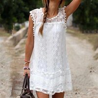 Wholesale 2016 New Arrivals Women Solid White Lace Sleeveless O Neck Sexy Hollow Out Plus Size Mini Casual Dresses Vestidos De Festa summer Dresses