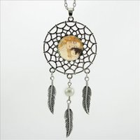 baby klimt - 2016 Trendy Style Gustav Klimt Necklace Mother and Baby Jewelry Wings Shaped Dream Catcher Feather Necklace DC