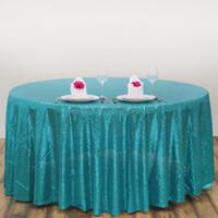 al por mayor azul marino azul paños de mesa-Venta al por mayor 120 '' redonda azul cequi lana lentejuelas para la boda barato azul marino lentejuelas mantel para incluso partido de lentejuelas mesa de ropa de cubierta