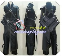 Men armor swords - Final Fantasy VII Advent Children Cloud Strife Cosplay Costume Top sword backbag pants apron shoulder Armor Gloves wolf badge