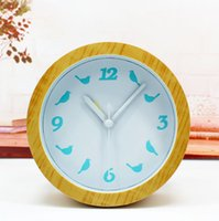 Wholesale Natural wood logs taste Birds alarm clock simple pastoral fashion when the desktop stand mute desktop watch clock