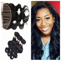 Wholesale Cheap Indian Brazilian Peruvian Hair - Cheap Full Lace Frontal Closure With Bundles 8A Grade Brazilian Virgin Human Hair Weaves 100% Unprocessed Natural Color Dyable 8-30 inch